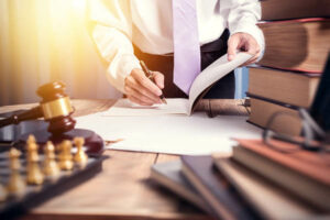 Workers compensation lawyer working on a case