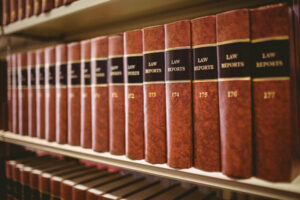 Workers comp law books on shelf