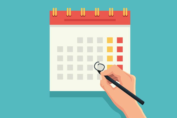 Calendar marking the day workers comp benefits end