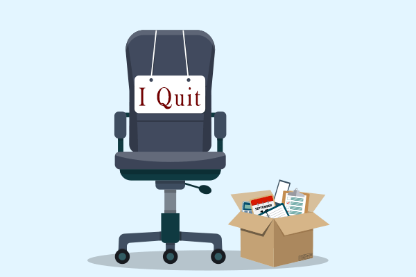 Office chair with desk items after worker quits
